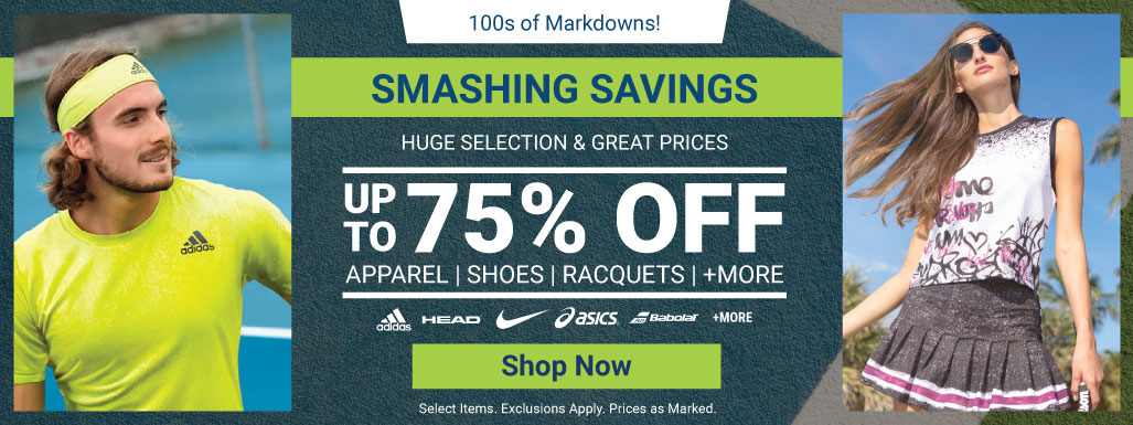 Smashing Saving Tennis Deals - Tennis Apparel, Racquets, Bags, Shoes and more