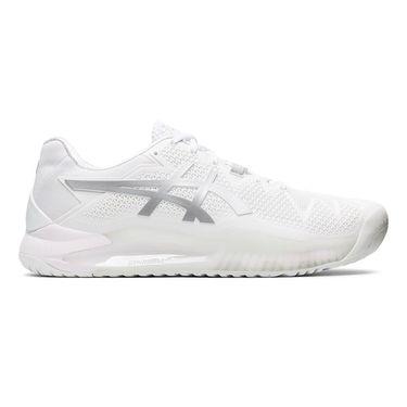 Asics Gel Resolution 8 Mens Tennis Shoe - White/Pure Silver ...