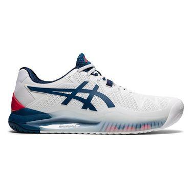 Asics Gel Resolution 8 Mens Tennis Shoe - White/Mako Blue | Tennis ...