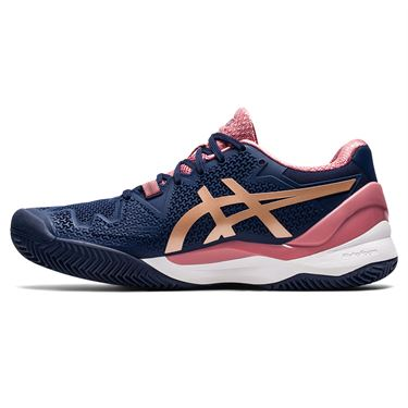 Asics Gel Resolution 8 Clay Womens Tennis Shoe Peacoat/Rose Gold 1042A070 404