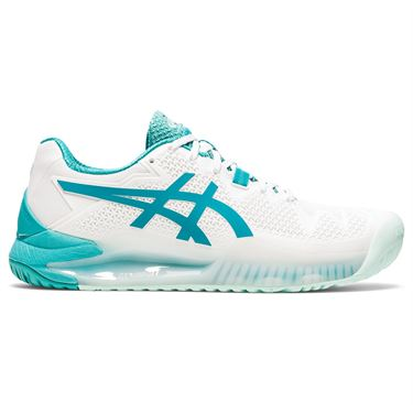 Asics Gel Resolution 8 Womens Tennis Shoe White/Lagoon 1042A072 106
