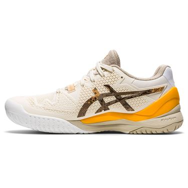 Asics Gel Resolution 8 LE Earth Day Womens Tennis Shoe White/Sunflower Orange 1042A163 101
