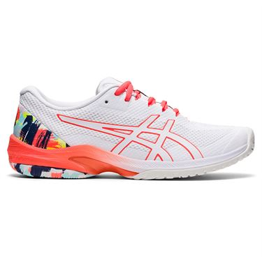 Asics Court Speed FF Womens Tennis Shoe White/Sunrise Red 1042A184 960