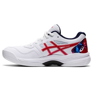 Asics Junior Gel Game 8 GS LE Tennis Shoe White/Classic Red 1044A046 110