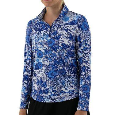 IBKUL Long Sleeve Zip Mock Top Womens Blue Tonal 10749 BLT