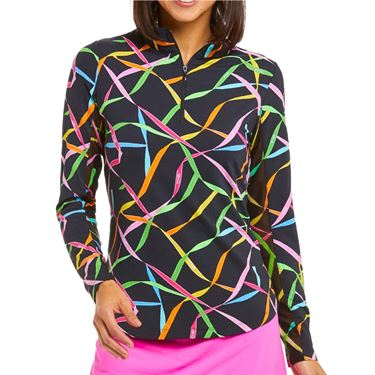 Ibkul Gifted Long Sleeve Mock Top Womens Black Multi 10751 BKM