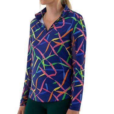 IBKUL Long Sleeve Zip Mock Top Womens Blue/Multi 10751 BLM