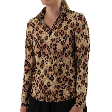 IBKUL Long Sleeve Zip Mock Top Womens Natural/Black 10752 NBK