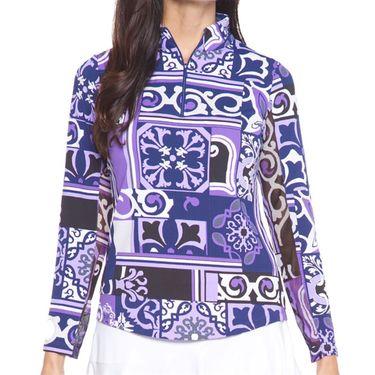 IBKUL Long Sleeve Zip Mock Top Womens Purple/Lavender 10859 PLV