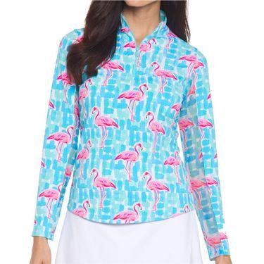 IBKUL Long Sleeve Zip Mock Top Womens Elsa Jade/Turquoise 10861 EJT