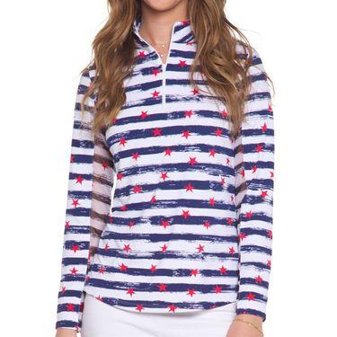 IBKUL Long Sleeve Zip Mock Top Womens Memorial Navy 10862 MNY