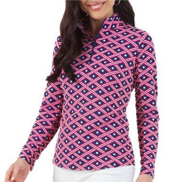 IBKUL Americana Long Sleeve Zip Mock Top Womens Navy/Red 10977 NRû