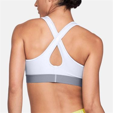 Under Armour Womens Mid Crossback Bra - White/Steel