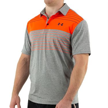Under Armour Playoff Polo Shirt Mens Concrete/Gray Wolf/Phoenix Fire 1327037 067