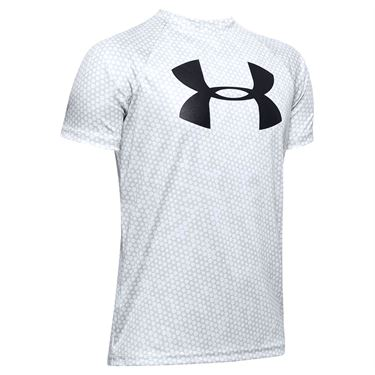 Under Armour Boys Tech Big Logo Printed Tee Shirt - Mod Gray/Black