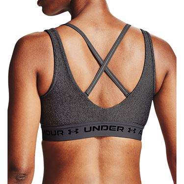 Under Armour Mid Crossback 2WH Sports Bra Womens Charcoal Light Heather/Black 1360264 019