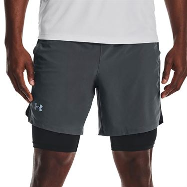 Under Armour Launch Run 2 in 1 Short Mens Pitch Gray/Black/Reflective 1361497 012