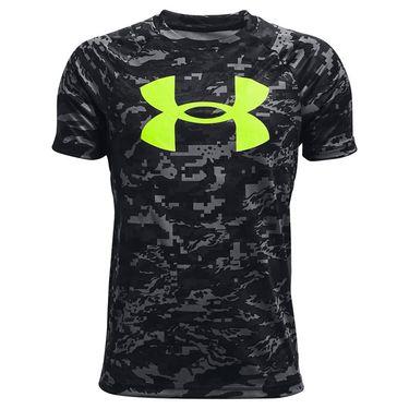 Under Armour Boys Tech Logo Printed Tee Shirt Black/Yellow 1363278 004