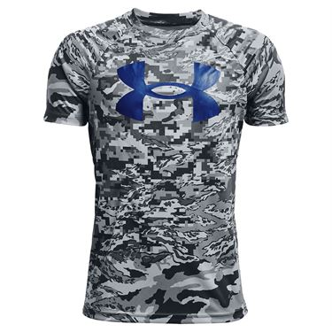 Under Armour Boys Tech Logo Printed Tee Shirt Pitch Gray/Tech Blue 1363278 012