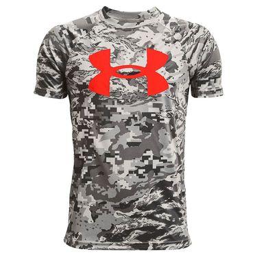 Under Armour Boys Tech Logo Printed Tee Shirt Concrete/Phoenix Fire 1363278 066