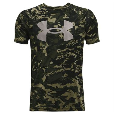 Under Armour Boys Tech Logo Printed Tee Shirt Marine OD Green/Concrete 1363278 390