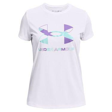 Under Armour Girls Tech Graphic Big Logo Tee Shirt White/Breeze/Planet Purple 1363384 104