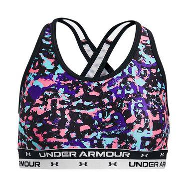 Under Armour Girls Crossback Printed Sports Bra Black/White 1364630 002