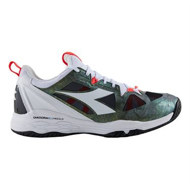 Diadora Speed Blushield Fly 2 Mens Tennis Shoe White/Olive 175584 C6288