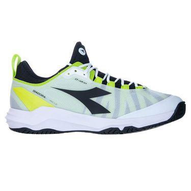 Diadora Speed Blushield Fly 3 AG Plus Mens Tennis Shoe - White/Black/Lime Green