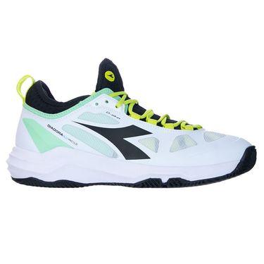 Diadora Speed Blushield Fly 3 Womens Clay Tennis Shoe White/Black/Green Ash 176952 C9653