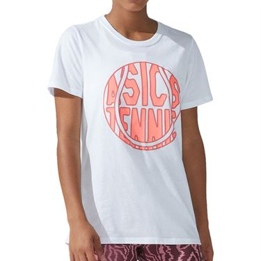 Asics Strong 92 Graphic Tee Shirt Womens Brilliant White/Blazing Coral 2042A197 100