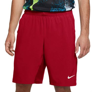 Nike Court Flex 11 inch Woven Short Mens Gym Red/White 455618 688