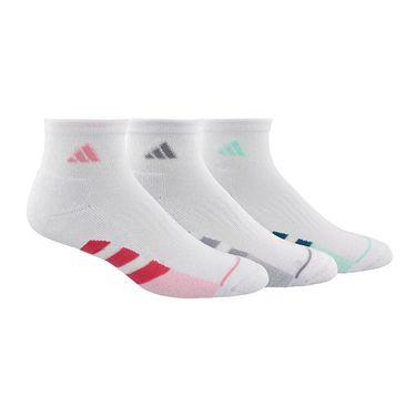 adidas Cushioned II 3 Pack Womens Quarter Sock - White/Multi