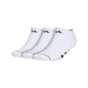 adidas Cushioned II 3 Pack No Show Sock - White/Black/Clear Onix Marl