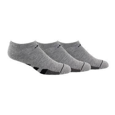 adidas Cushioned II 3 Pack No Show Sock - Grey Heather/Black