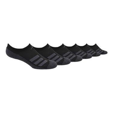 adidas Cushioned Angle Stripe 6 Pack Junior No Show Sock - Black/Onix Marl/Night Grey
