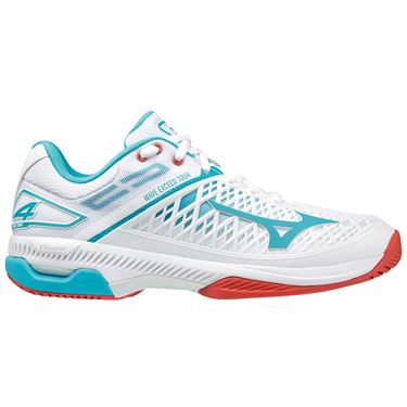 Mizuno Wave Exceed Tour 4 Womens Tennis Shoe White/Light Blue 550030 00SC