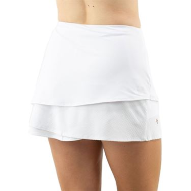 Cross Court Club Layered Skirt Womens White 8634 0110