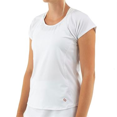 Cross Court Club Cap Sleeve Top Womens White 8771 31 0110