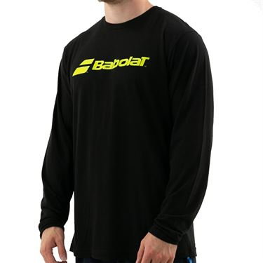 Babolat Logo Long Sleeve Tee Mens Black/Yellow 911128 U08