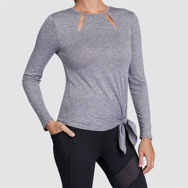 Tail Core Knotted Hem Long Sleeve Top - Frosted Heather