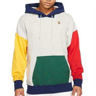 Nike Court Hoodie Mens Grey Heather/Gorge Green BV0760 050