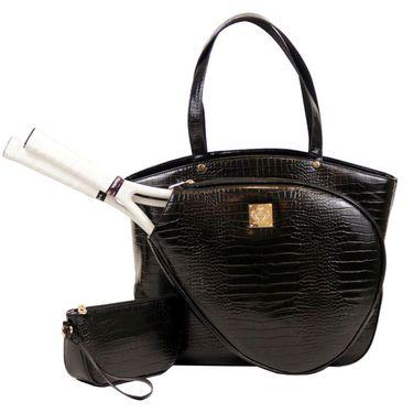 Court Couture Cassanova Crocodile Embossed Tennis Bag - Noir