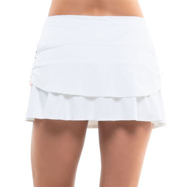 Lucky in Love Kinetic Energy Ruched Tier Skirt Womens White CB40 120