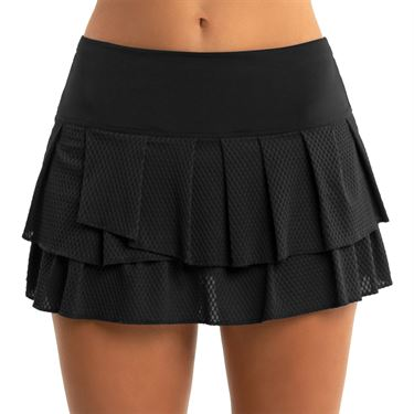 Lucky in Love Core Wavy Pleated Tier Skirt Womens Black CB425 001