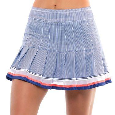 Lucky in Love Kinetic Energy Long Stripe Pleated Skirt Womens Cobalt CB481 E48406