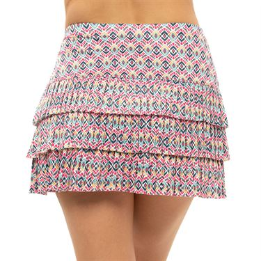 Lucky in Love Pretty In Ink Long Diamond Pleated Skirt Womens Shocking Pink CB543 G45645