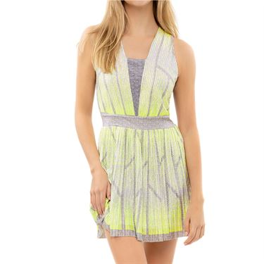 Lucky in Love Nice To Pleat You Pleat Wave Dress Womens Neon Yellow CD25 H57710
