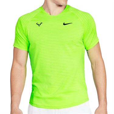Nike Court Aero React Rafa Slam Crew Shirt Mens Volt/Black CI9152 702
