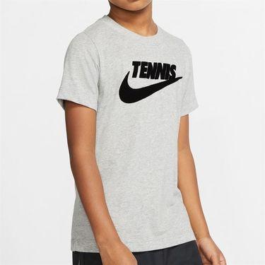 Nike Boys Court Dri Fit Graphic Tee Shirt Dark Grey Heather/Black CJ7758 066